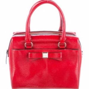 KATE SPADE Red Patent Leather Handle Top Bag EUC